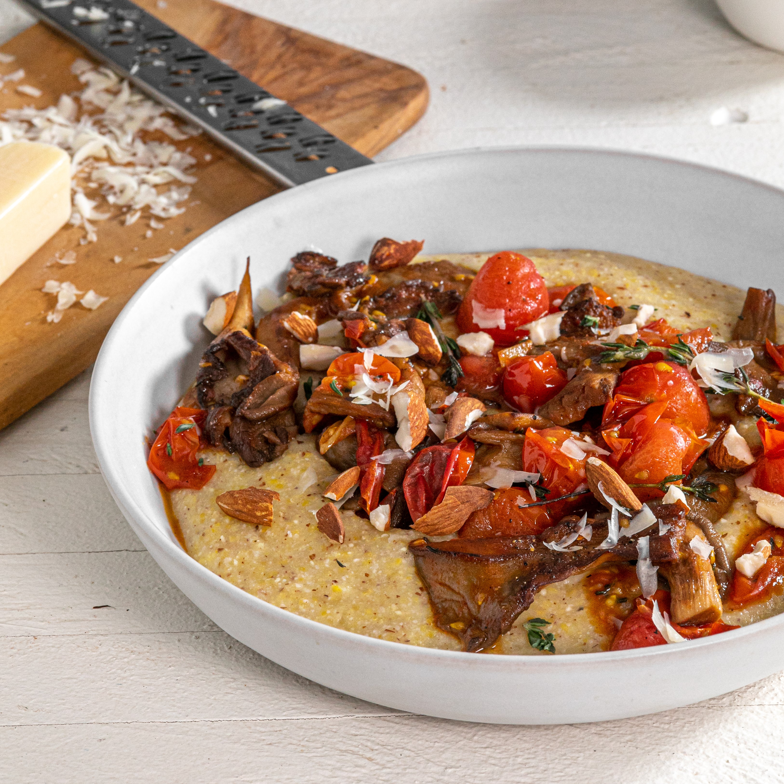 Almond Polenta with Balsamic Tomatoes and Mushrooms