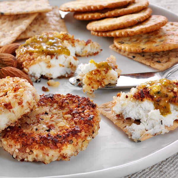 Almond Fried Cheese with Cilantro Pesto