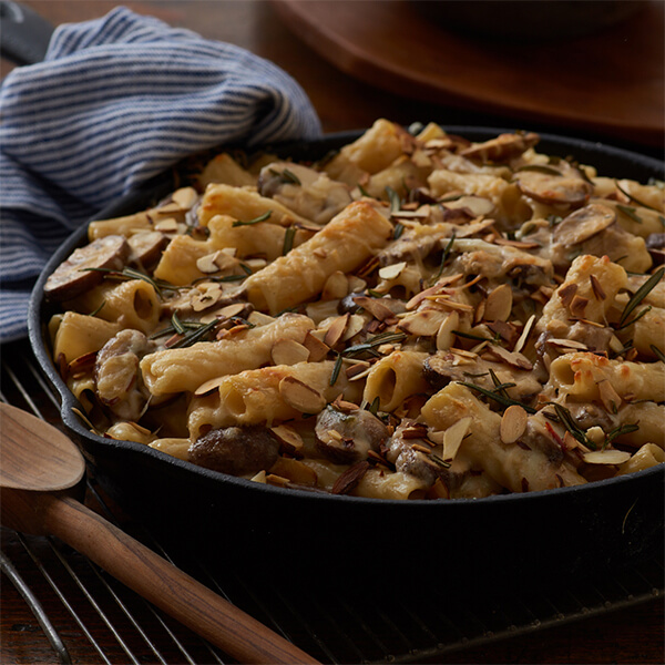 Baked Ziti with Almonds, Cremini Mushrooms and Rosemary