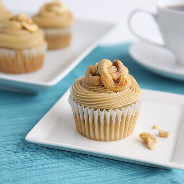 Banana Cashew Cupcakes with Caramel Frosting