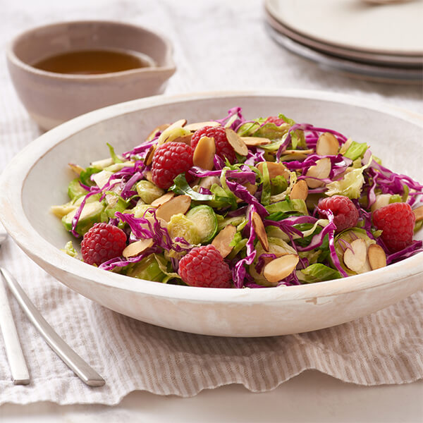 Brussels Sprout Slaw with Raspberries and Almonds