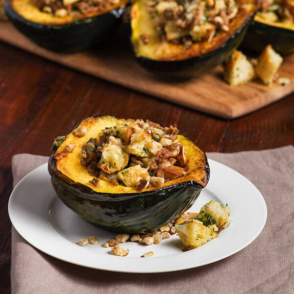 Chicken and Walnut Stuffed Acorn Squash