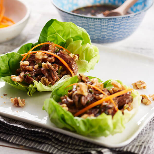 Spiced Beef and Walnut Lettuce Wraps