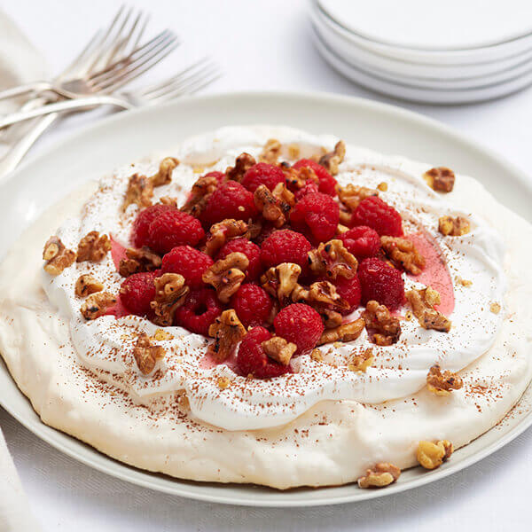 Walnut Raspberry Pavlova