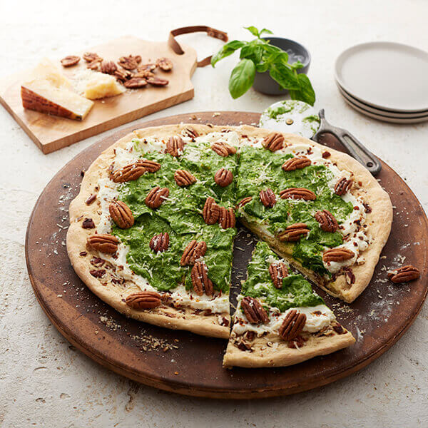 Pizza with Spinach, Pine Nut Pesto and Pecans