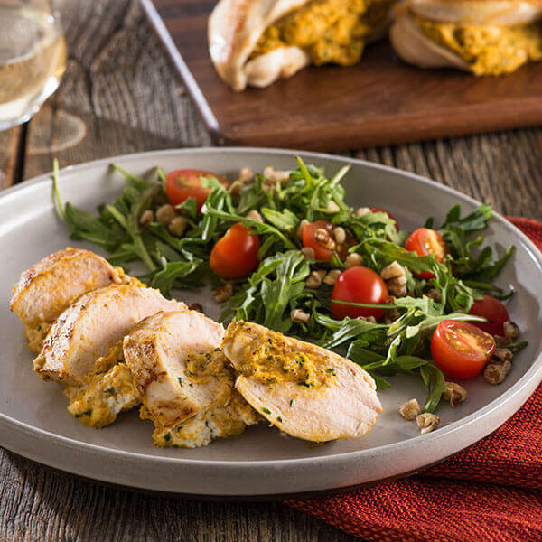 Chicken Breasts Stuffed with Goat Cheese and Pumpkin Walnut Pesto