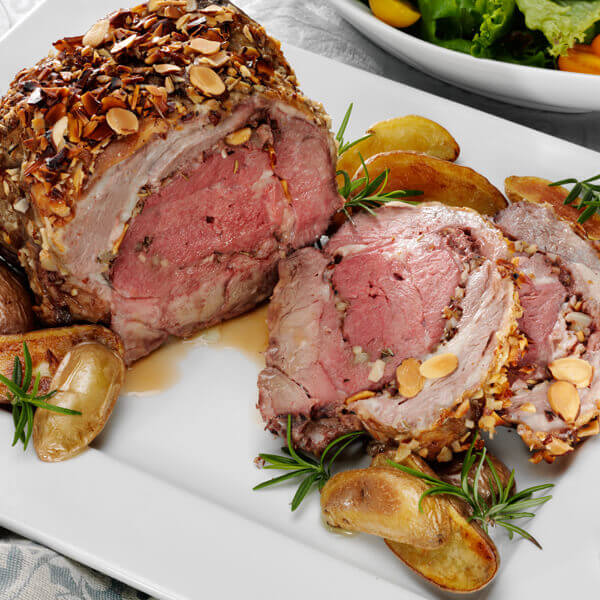Herb and Almond Crusted Leg of Lamb