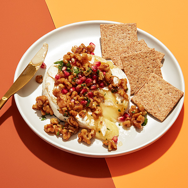 Baked Brie with Glazed Walnuts & Pomegranate Seeds