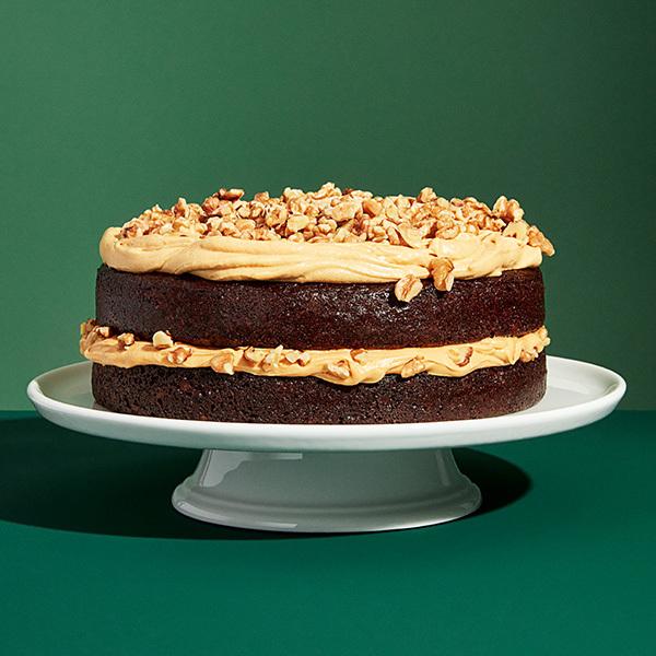 Chocolate Walnut Cake with Dulce de Leche Frosting