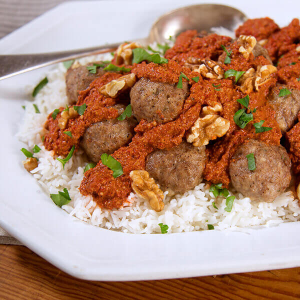 Lamb Meatballs with Walnut Romesco