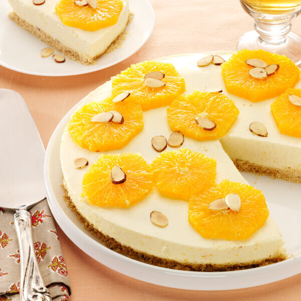 No Bake Orange Cheesecake with Toasted Almonds