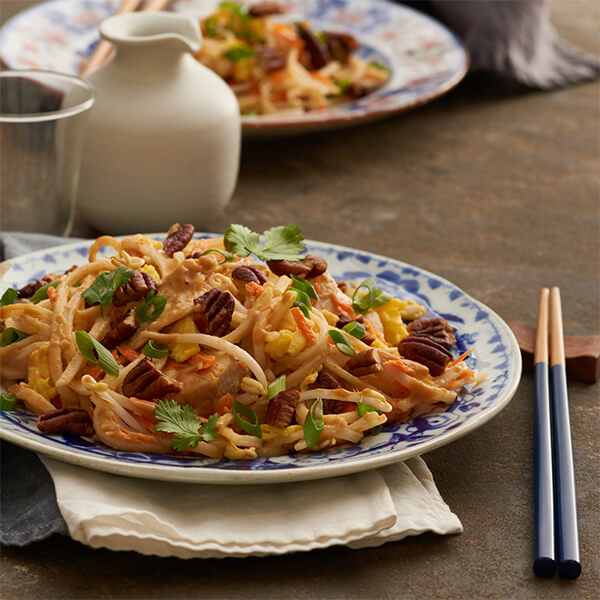 Pad Thai with Pecans, Chicken and Ginger