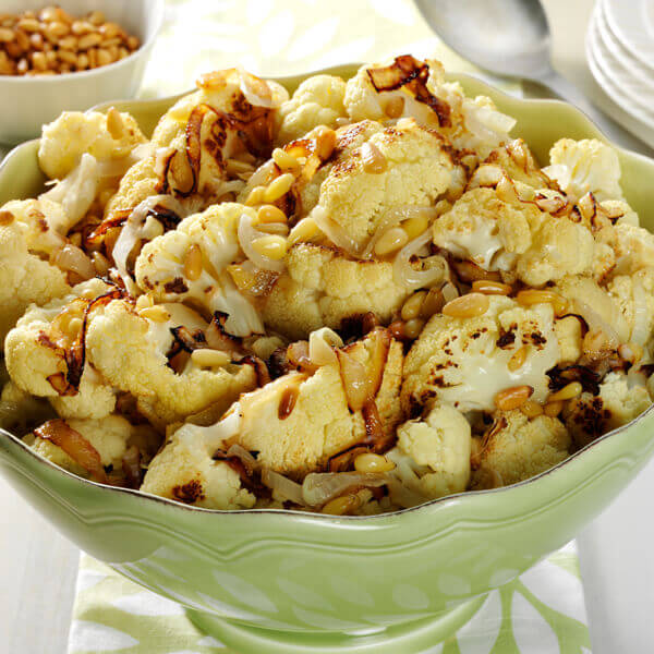 Parmesan Roasted Cauliflower with Pine Nuts