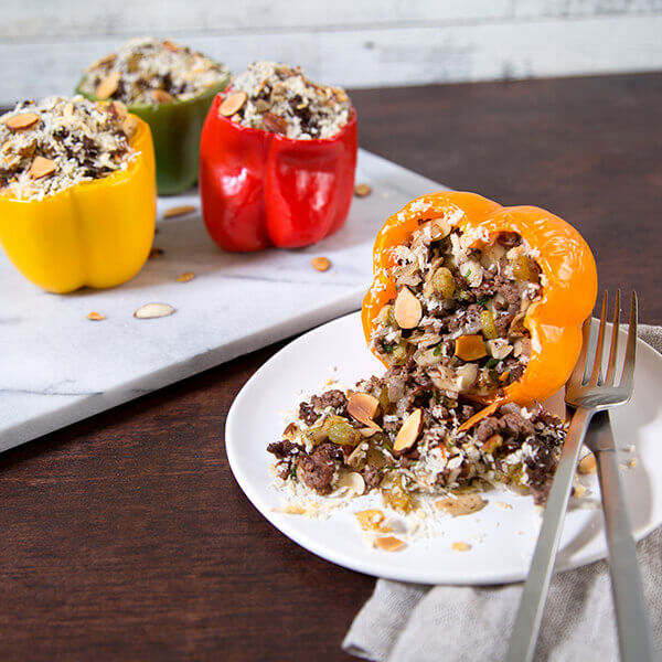 Beef and Almond Stuffed Peppers