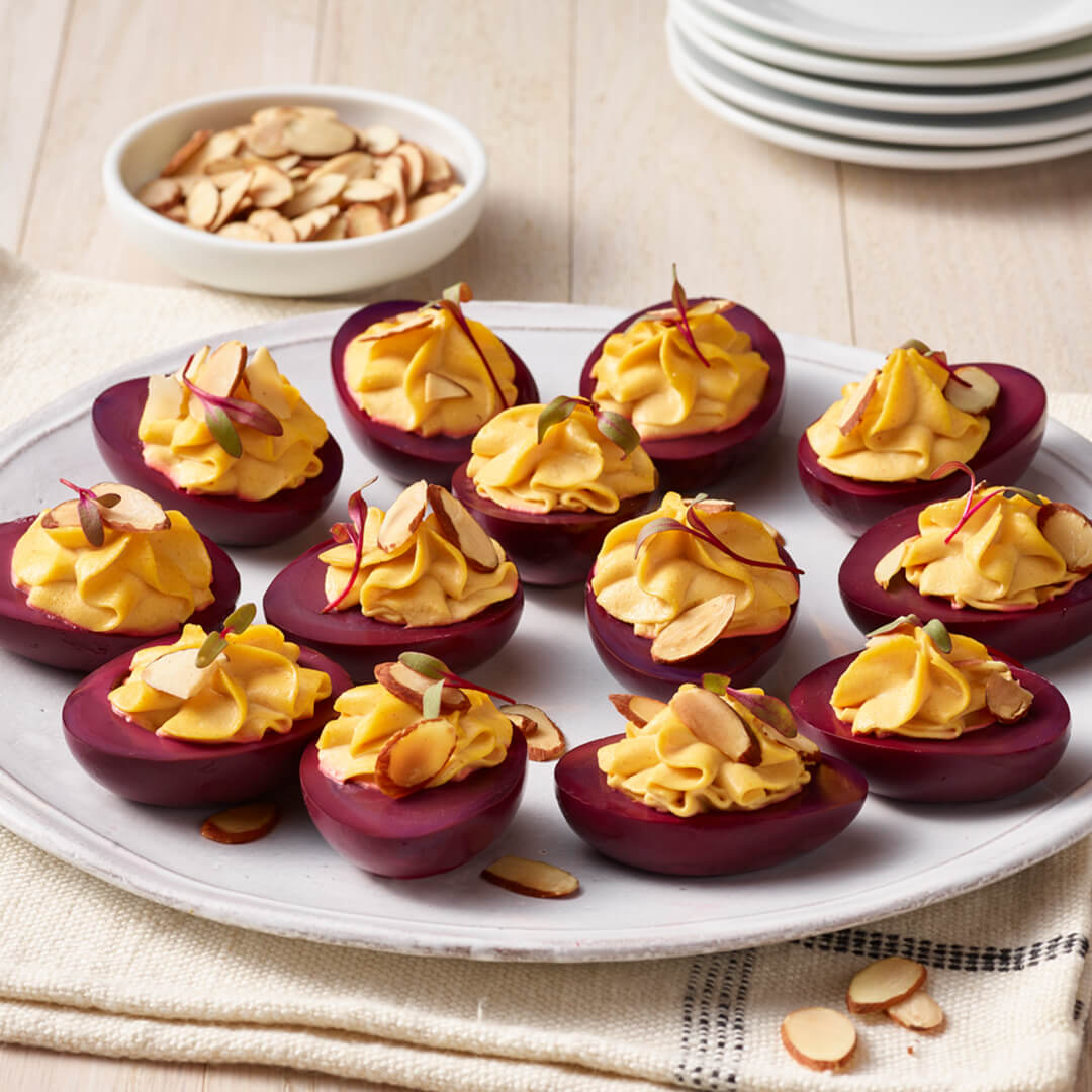 Pickled Deviled Eggs with Almonds