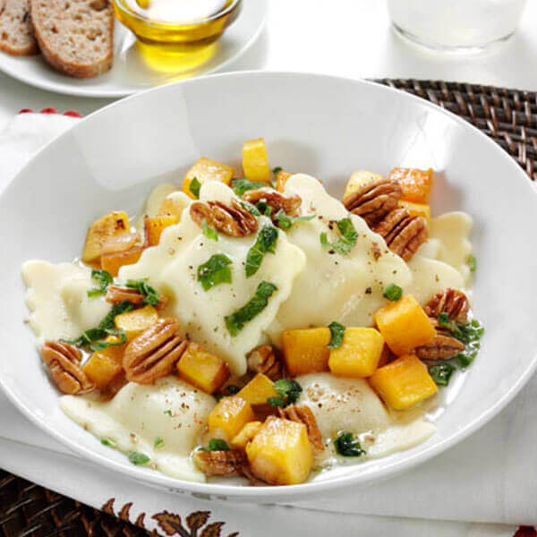 Ravioli with Butternut Squash and Pecans