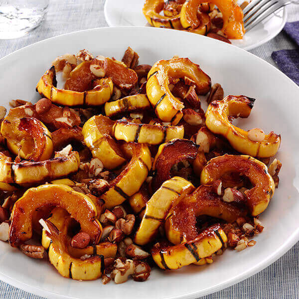Salty Sweet Maple Glazed Delicata Squash