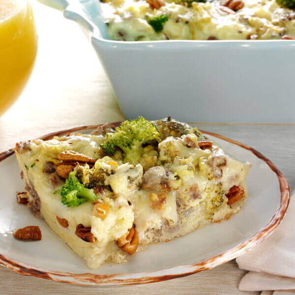 Sausage and Cheese Strata with Pecans