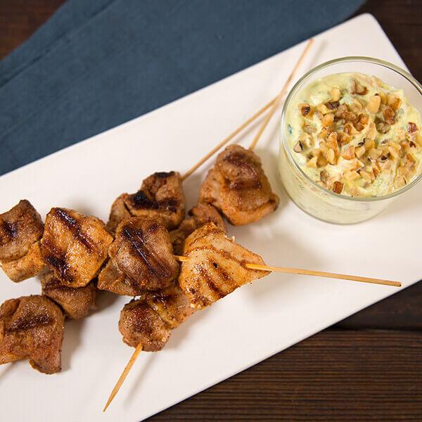 Chicken Skewers with Walnut Raita