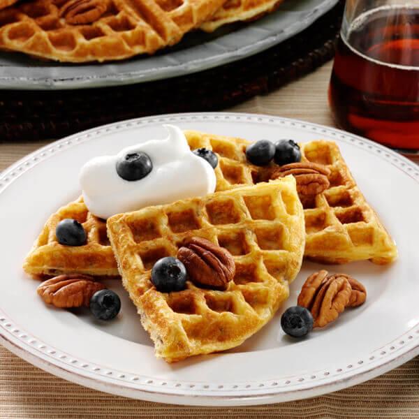 Sour Cream Pecan Waffles