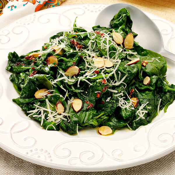 Spinach with Almonds and Red Pepper Flakes