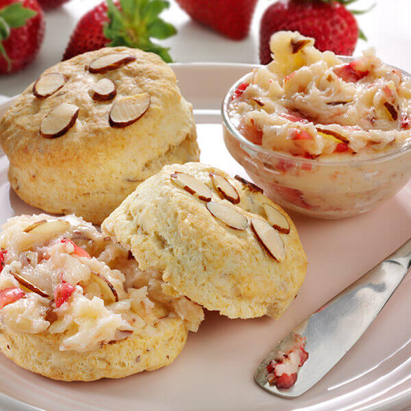 Almond Biscuits with Strawberry Butter