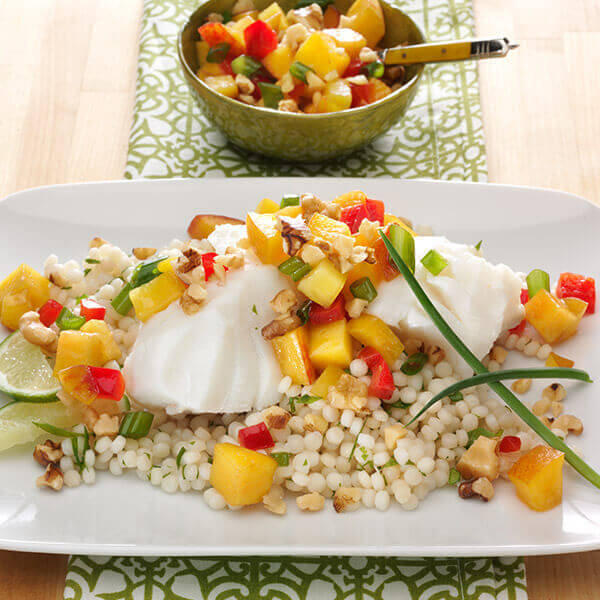 Poached Cod with Peach and Walnut Salsa