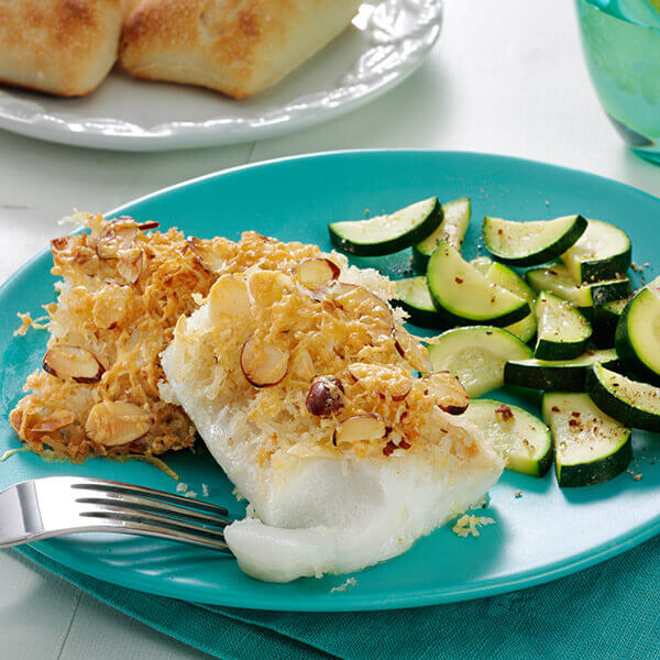 Roasted Cod with Parmesan Almond Crust