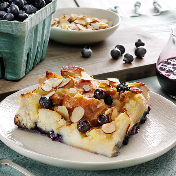 Almond Blueberry Bread Pudding
