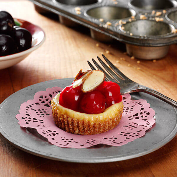 Cherry Almond Mini Cheesecakes