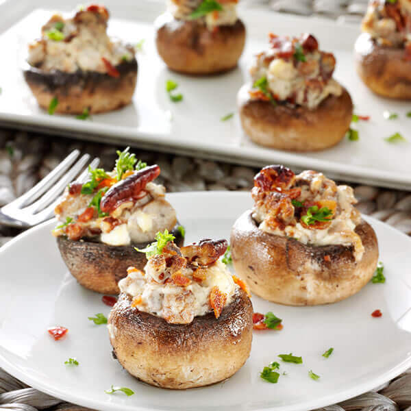 Bacon Pecan Garlic Mushrooms