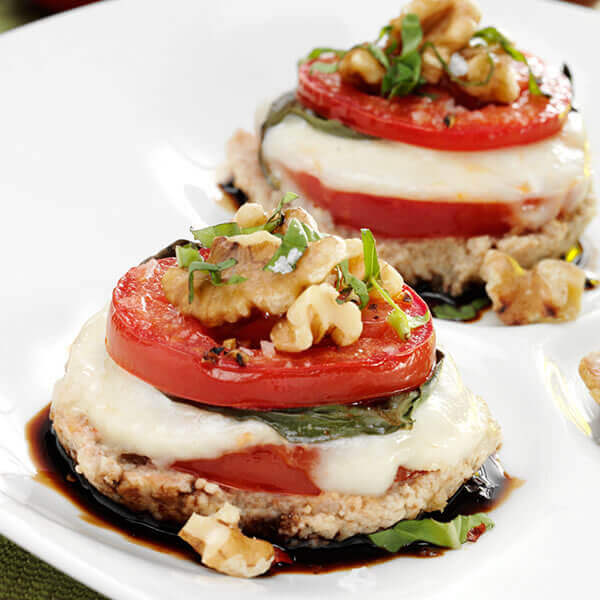 Baked Walnut Caprese Cups