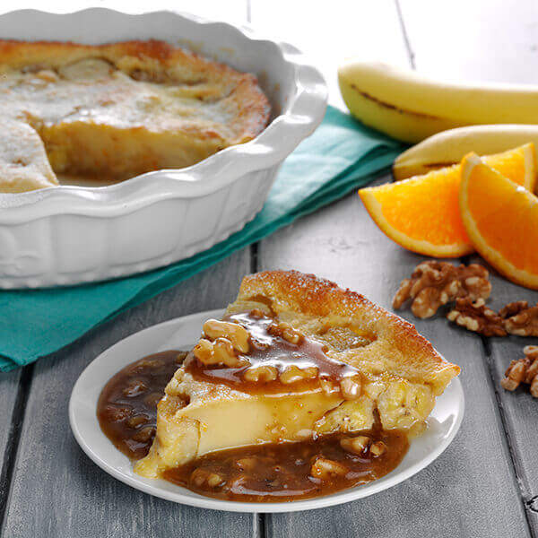 Banana Orange Flaugnarde with Toasted Walnut Caramel Citrus Sauce