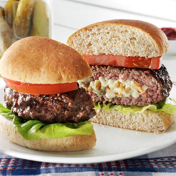 Blue Cheese & Walnut Stuffed Burger