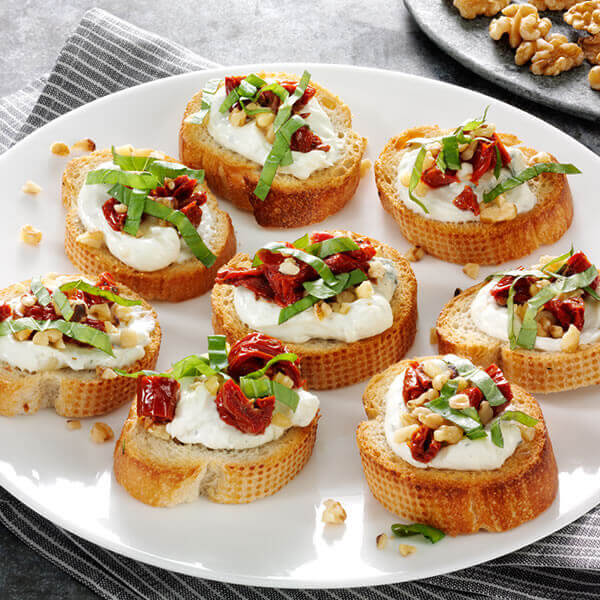 Blue Cheese Sun-dried Tomato Bruschetta