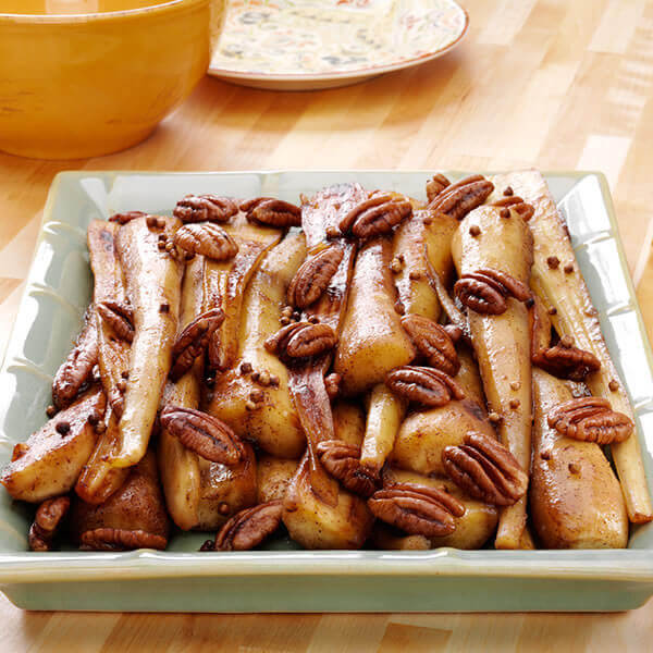 Braised Parsnips with Maple Syrup and Pecans