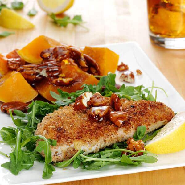 Chicken Breasts with Butternut Squash and Candied Pecans