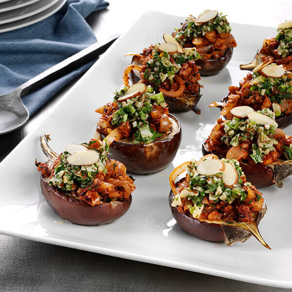 Harissa & Walnut Stuffed Baby Eggplant with Almond Chimichurri Drizzle