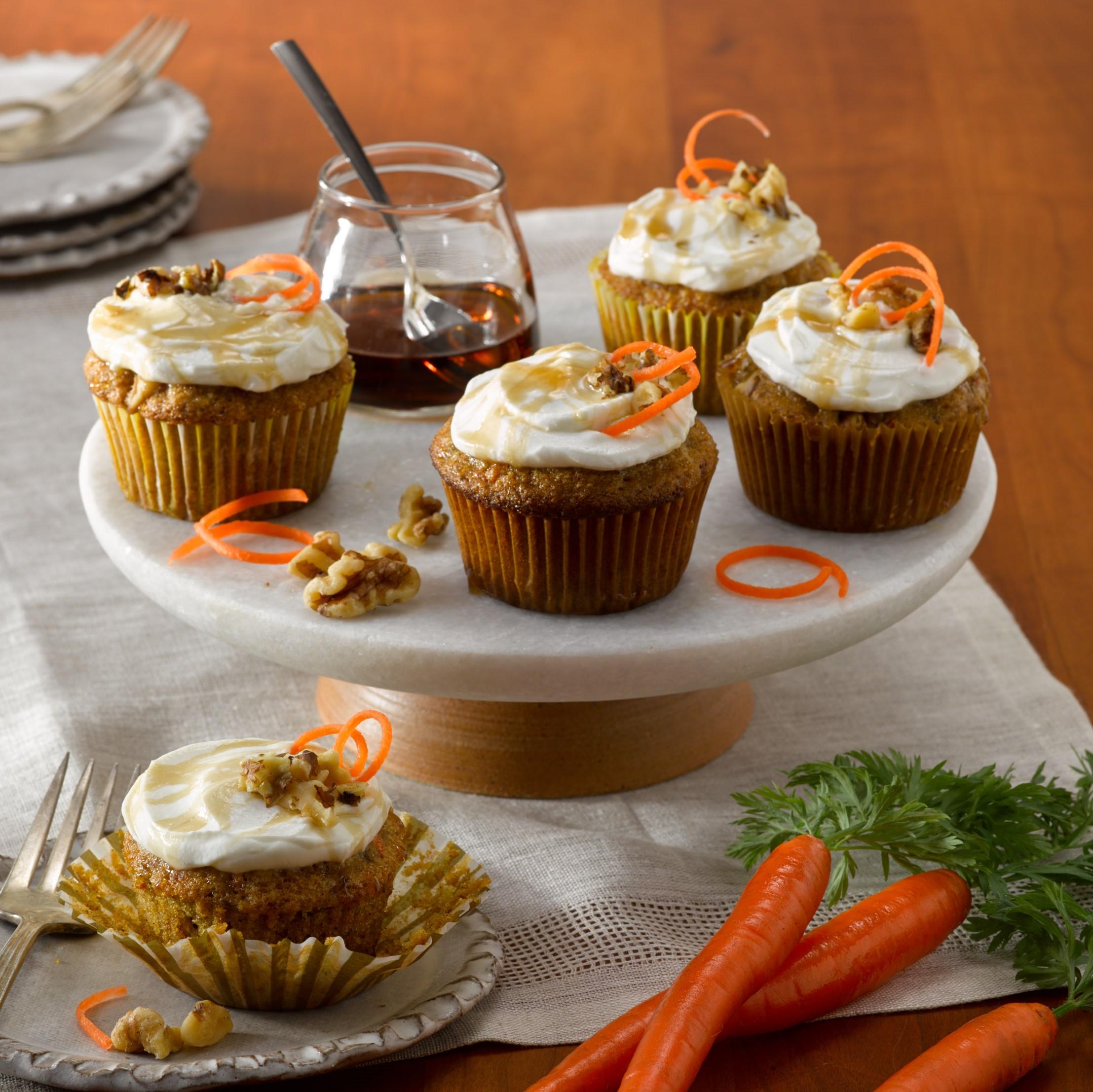 Greek Yogurt and Agave Carrot Cupcakes