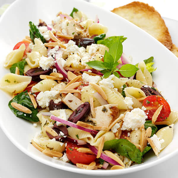 Mediterranean Pasta Salad with Toasted Almond Vinaigrette