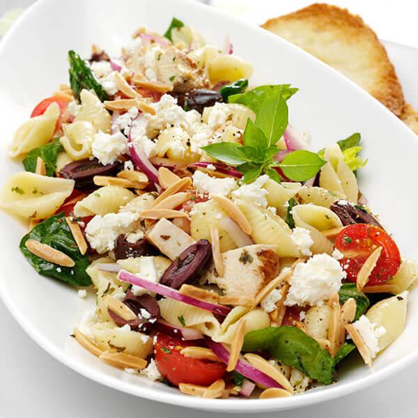 Mediterranean Pasta Salad with Toasted Almond Vinaigrette