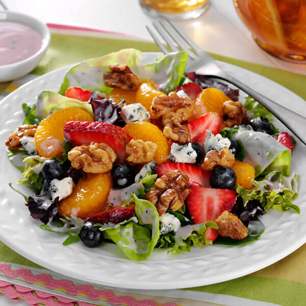 Mixed Greens with Fruit & Honey-Glazed Walnuts