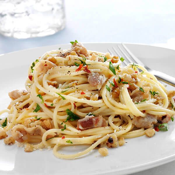 Pasta and Walnuts alla Carbonara