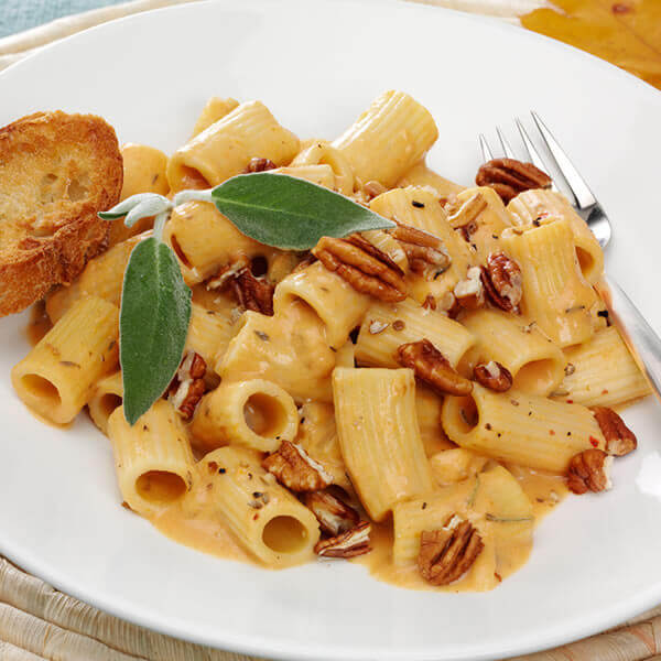 Rigatoni with Cheesy Pumpkin Pecan Sauce