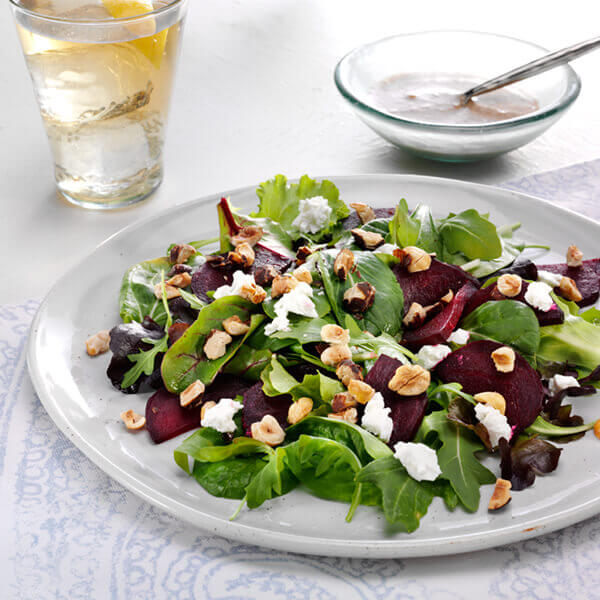 Roasted Beet Salad with Goat Cheese and Hazelnut Dressing