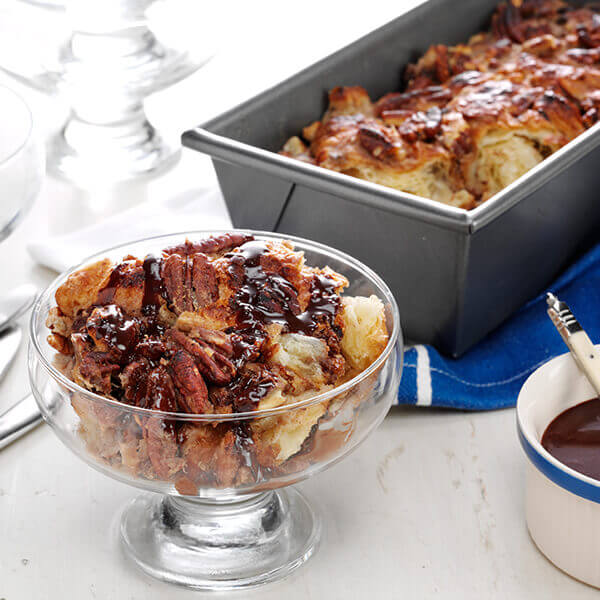 Roasted Banana Nut Bread Pudding with Salted Chocolate Sauce