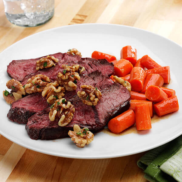 Seared Hanger Steak with Brown Sugar Carrots and Walnuts