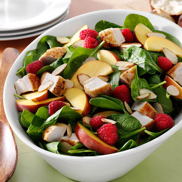 Spinach Salad with Chicken & Raspberry Vinaigrette