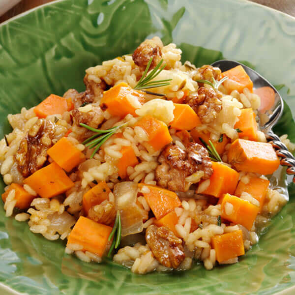 Sweet Potato Risotto with Glazed Walnuts