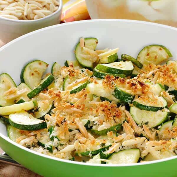 Zucchini with Lemon Almond Topping